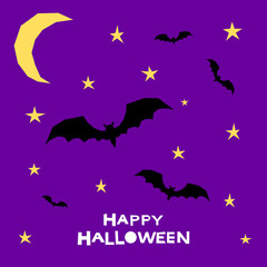 Happy halloween card template. Abstract halloween bat and star pattern
