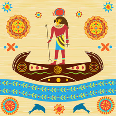 Ancient Egyptian god Ra floats on a boat with patterns and ornaments against the background of ancient papyrus or cloth.