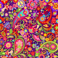 Hippie vivid wallpaper with abstract colorful flowers, hippie peace symbol, mushrooms and paisley