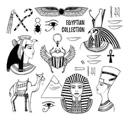 Hand drawn vector illustration - Egyptian collection. Gods of Ancient Egypt, Pharaoh, scarab beetle, camel, Egyptian symbols. Perfect for invitation, web, postcard, poster, textile, print etc.