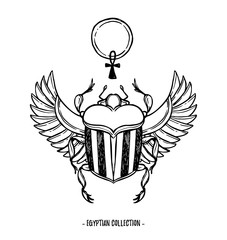 Hand drawn vector illustration - Egyptian collection. Scarab beetle with wings and ankh, symbol of pharaoh. Perfect for invitation, web, postcard, poster, textile, print etc.
