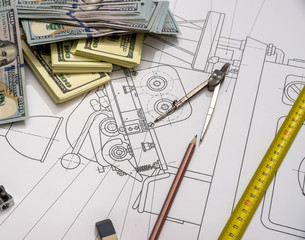 Engineering Graphics with money, work tools