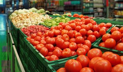 Vegetables in a supermarket, toned image