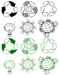 Different design of recycle symbols