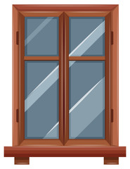 Window with wooden border