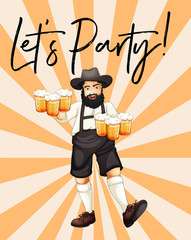 Man with glasses of beer with phrase let's party