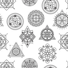 Seamless vector pattern with sacred black line shapes