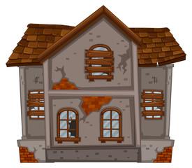 Brickhouse with ruined windows