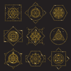 Sacred Geometry Forms golden frame on black background with metal highlights