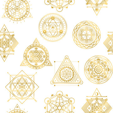 Seamless vector pattern with sacred golden shapes