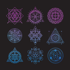 Set of bright vector sacred symbols on black background