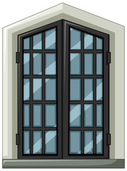 Glass window with gray frame