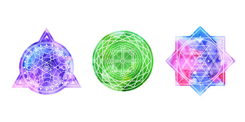 Set of bright colored sacred shapes . Watercolor background is cut in shape.Vector