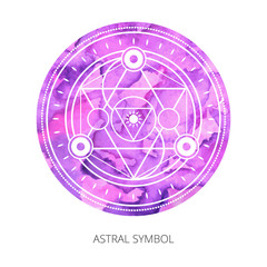 Sacred forms on  background of violet watercolor. Backdrop under clipping mask .  Vector
