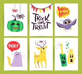 Vector collection of flat Halloween cards with traditional decoration elements