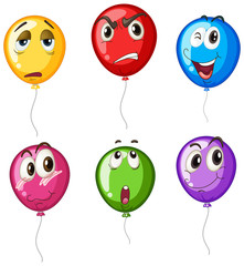 Colorful balloons with different faces