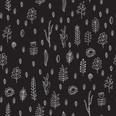Seamless pattern with doodle plants