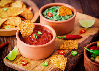 Mexican Tortilla Chips With Chili Sauce