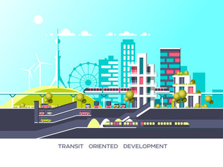 Flat illustration with city landscape. Transport mobility and smart city. Traffic info graphics design elements with transport, including bus, metro, train, cars.