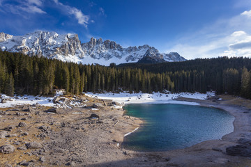 Lake Carezza, Latemar group, Dolomites, Trento province, Trentino Alto Adige, Italy, Europe. View of lake in spring.