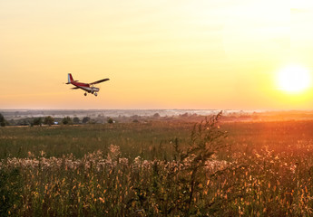 Low flying airplane flying above the green field on sunset. Beautiful summer landscape. Small agricultural aircraft spraying fertilizer or pesticides on fields or watering.