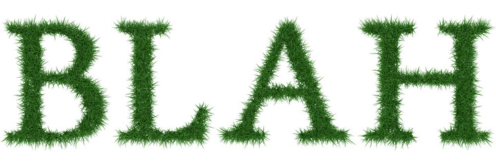 Blah - 3D rendering fresh Grass letters isolated on whhite background.