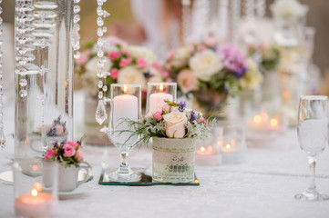 Table decoration at a luxury wedding reception