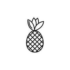 Pineapple thin line vector icon. Isolated pinapple fruit linear style for menu, label, logo. Simple vegetarian food sign.