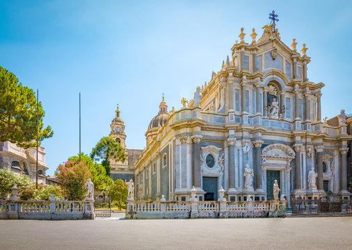 Piazza del Duomo with Cathedral of Santa Agatha in Catania, Sicily, Italy.