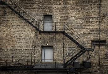 Fire escape with bricks