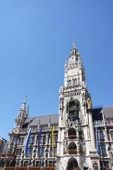 Stadtpanorama München: Marienplatz, Rathaus, Glockenspiel, Münchner Kindl, Mariensäule