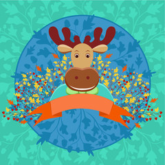 Cute horned elk with banner and autumn floral decoration in cart