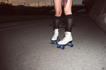 Roller Skates on a women