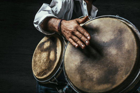 Percussionist playing bata drums