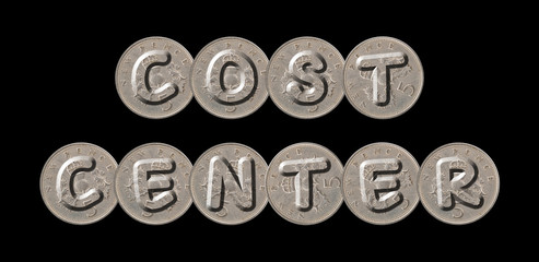 COST CENTER – Five new pence coins on black  background