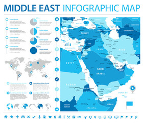 Middle East Map - Info Graphic Vector Illustration