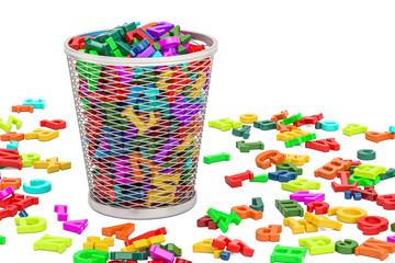 Trash bin full of colored letters, 3D rendering