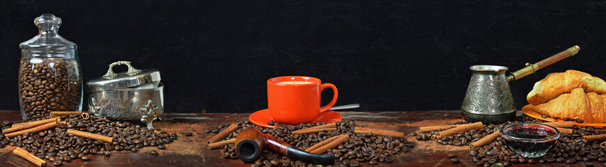 Large-format panorama of a still life on a coffee subject