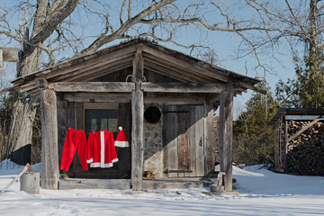 Santa's clothes hanging outside.