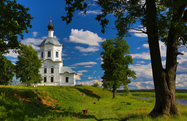 Orthodox church on the bank of the lake