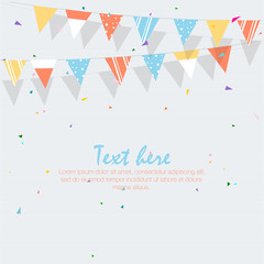 Happy Birthday Card with colorful flags. Vector illustration