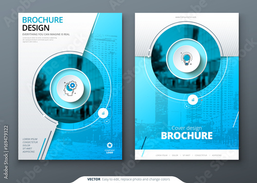 Cover Set Blue Template For Brochure Banner Plackard Poster