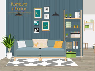 Furniture interior. Living room interior. Vector illustration