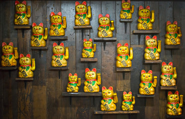 Chinese lucky cats on shelves, Chinese full moon festival