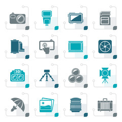 Stylized Photography equipment icons - vector icon set