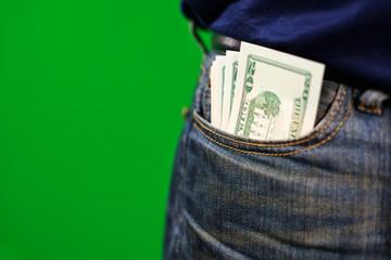 USA cash in jeans pocket
