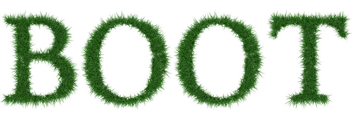 Boot - 3D rendering fresh Grass letters isolated on whhite background.