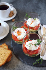 Verrines breakfast: poached eggs, tomatoes, zucchini and coffee