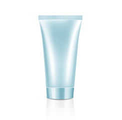 Mock up cosmetic blue tube with blue lid for cream. Beauty product package template, vector illustration.