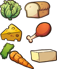 Cartoon food items. Vector clip art illustration with simple gradients. Each on a separate layer.